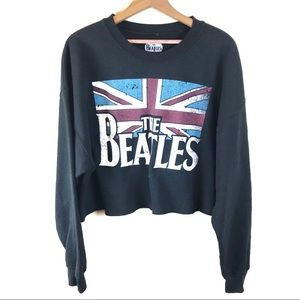 The Beatles Black Cropped Pullover Sweatshirt XL
